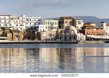View of the waterfront city of Chania (island Crete, Greece)