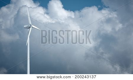 Windmills with blue sky in background 3d rendering.