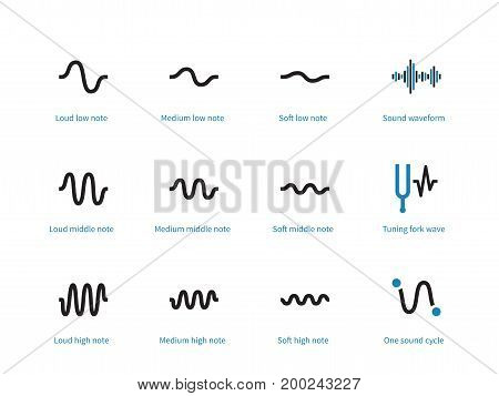 Sound types cycle duotone icons on white background. Vector illustration.