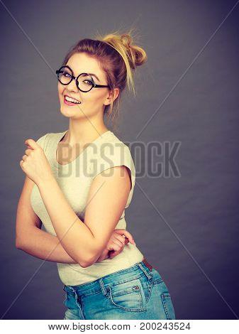 Happy Teenage Woman Wearing Eyeglasses