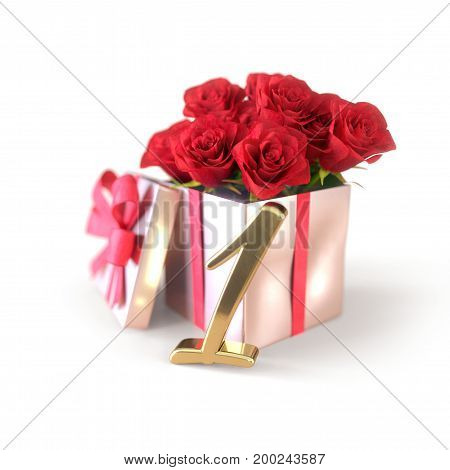 birthday concept with red roses in gift isolated on white background. 3D render - first birthday. 1st