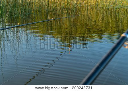 Rod And Float. Fishing On The Lake