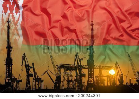 Industrial Concept With Belarus Flag At Sunset