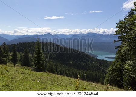Panorama mountain view from Jochberg to lake Walchensee in Bavarian Alps Germany