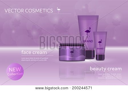 Brand. Make up set with beauty and face cream with leaves in the background. Flamingo logo and text fields.