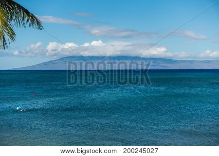 A view of the island of Lanai from Maui Hawaii.