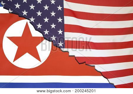 North Korea Breaks With Usa, Flag Concept