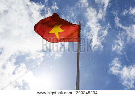National Flag Of Vietnam On A Flagpole