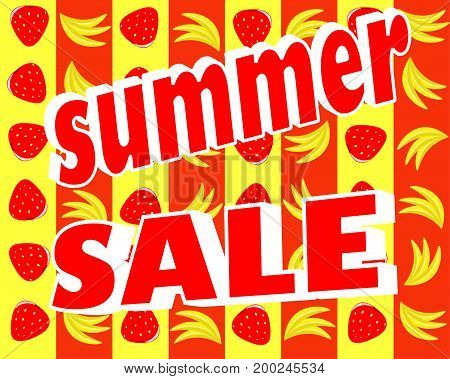 Vector illustration of a summer sale on a background of fruit
