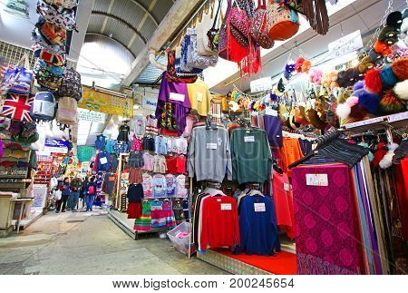 Hong Kong, CHINA Feb 26, 2017 : Hong Kong Stanley Market, tourist district selling low cost merchandise