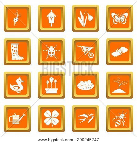 Spring icons set in orange color isolated vector illustration for web and any design