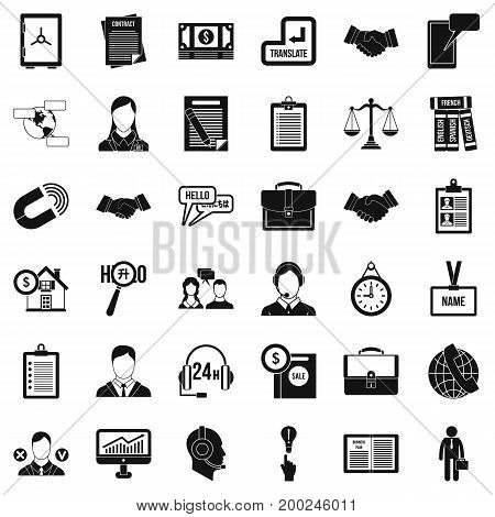 Important discussion icons set. Simple style of 36 important discussion vector icons for web isolated on white background