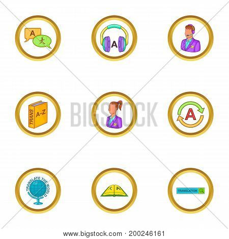 Language learn icons set. Cartoon illustration of 9 language learn vector icons for web design