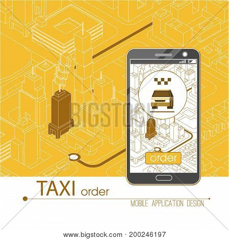 Taxi service mobile application. Isometric city and car on smart phone on smart phone. Navigate application. Vector illustration.