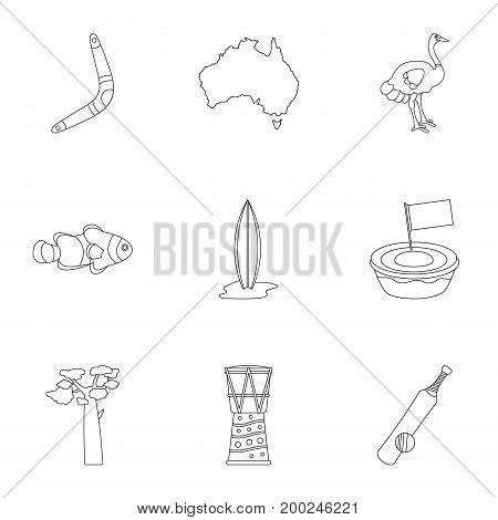 Tourism in Australia icon set. Outline style set of 9 tourism in Australia vector icons for web isolated on white background