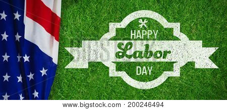 Digital composite image of happy labor day banner against closed up view of grass