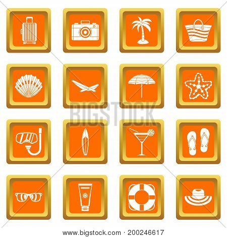 Summer rest icons set in orange color isolated vector illustration for web and any design