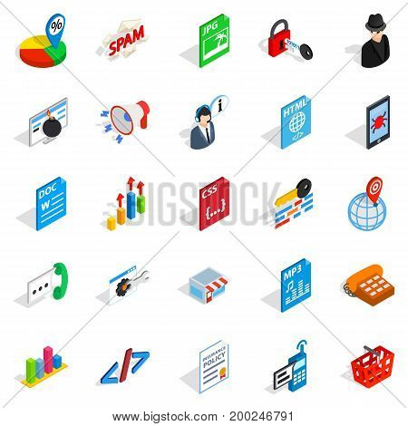 Database cloud icons set. Isometric set of 25 database cloud vector icons for web isolated on white background