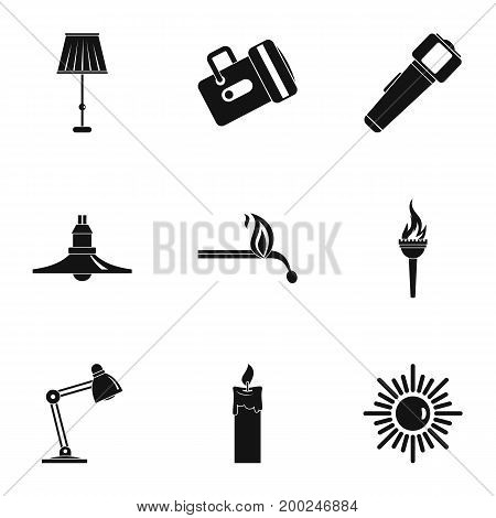 Illumination source icon set. Simple style set of 9 illumination vector icons for web isolated on white background