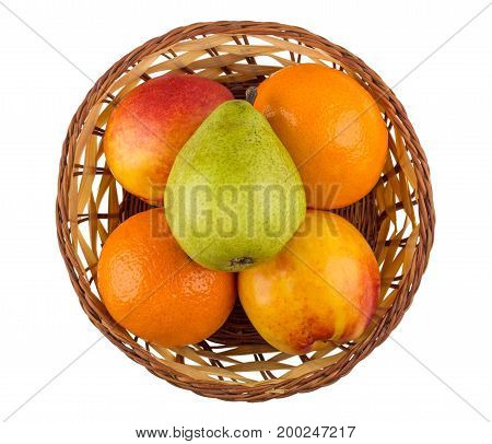 Tangerines, Pears And Nectarines In Wicker Basket Isolated On White