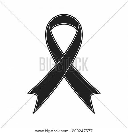 Black ribbon illustration vector isolated on white background