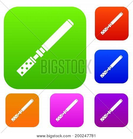 Electronic cigarette with cartridges set icon in different colors isolated vector illustration. Premium collection