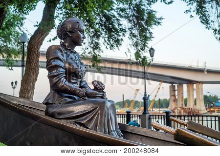 ROSTOV-ON-DON, RUSSIA - MAY, 2017: Monument of Aksinya on embankment