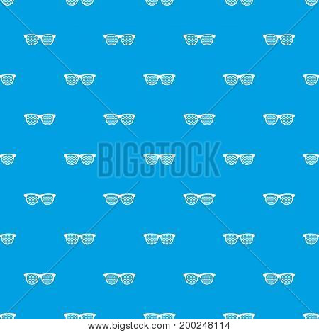 Black pinhole glasses pattern repeat seamless in blue color for any design. Vector geometric illustration