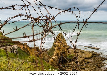 Remains of the German defences that were part of the Atlantic Wall in 1944 at Pointe du Hoc in Normandy
