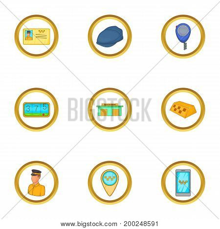 Transfer car icons set. Cartoon illustration of 9 transfer car vector icons for web design