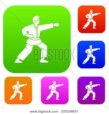 Aikido fighter set icon in different colors isolated vector illustration. Premium collection