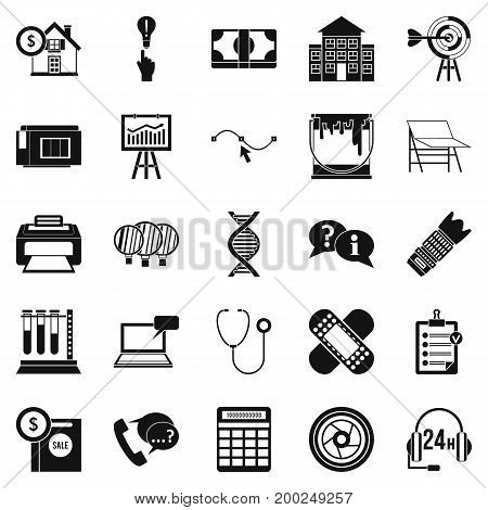 Department icons set. Simple set of 25 department vector icons for web isolated on white background