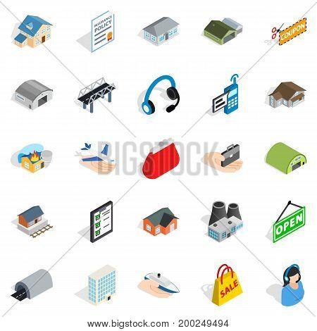 Pledge icons set. Isometric set of 25 pledge vector icons for web isolated on white background