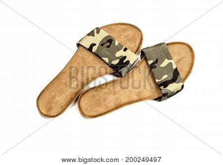Women's, khaki sandals on a white background closeup