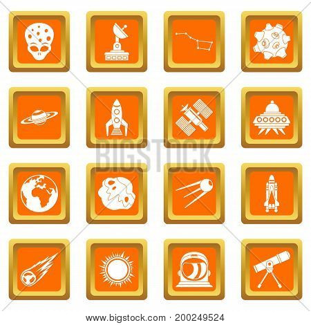 Space icons set in orange color isolated vector illustration for web and any design