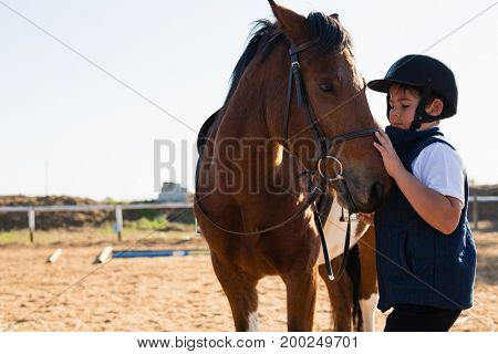Close-up of boy sitting on the horse back