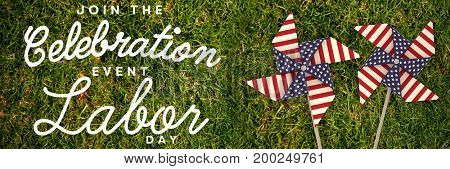 Digital composite image of join celebratio event labor day text against full frame shot of grassy field