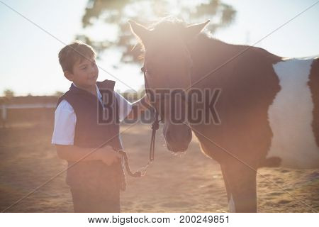 Boy holding the reins of a horse in the ranch on a sunny day