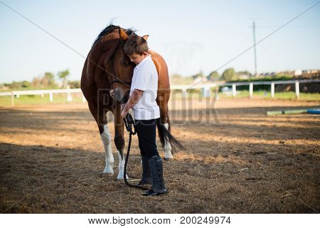 Rider boy caressing a horse in the ranch on a sunny day