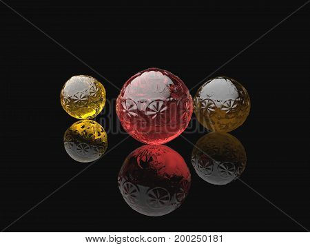 3d illustration of three decorated glass spheres