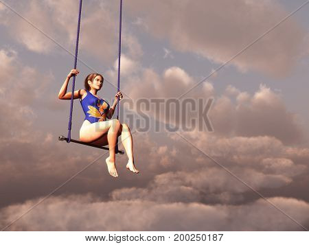 3d illustration of a trapeze artist between clouds