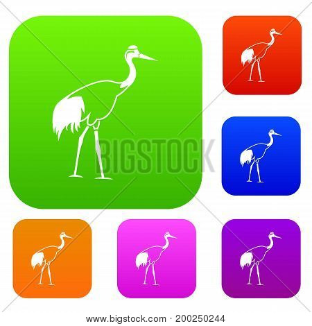 Stork set icon in different colors isolated vector illustration. Premium collection