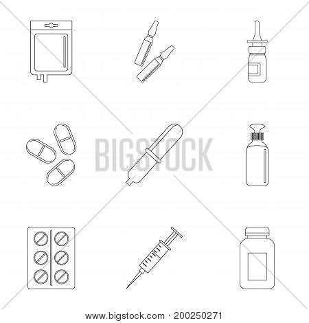 Medication icon set. Outline style set of 9 medication vector icons for web isolated on white background