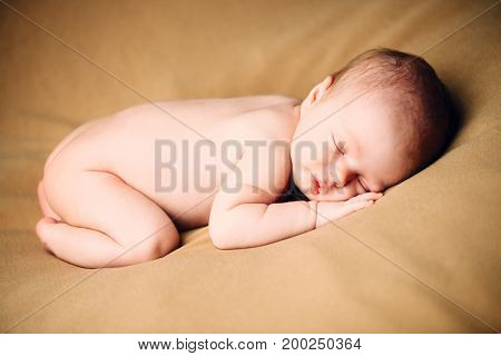 Portrait of a sweet sleeping newborn baby. baby care, Healthcare.