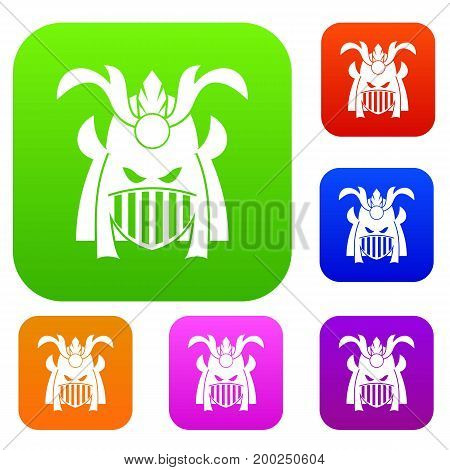 Tribal helmet set icon in different colors isolated vector illustration. Premium collection