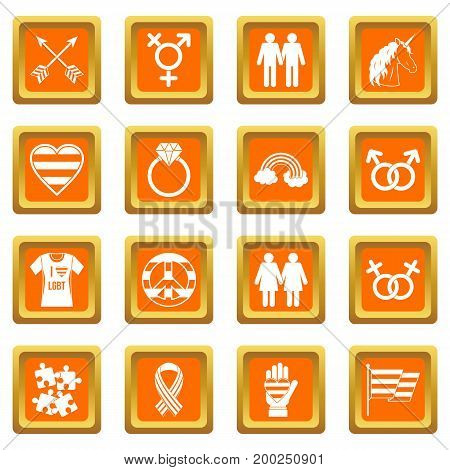 Lgbt icons set in orange color isolated vector illustration for web and any design