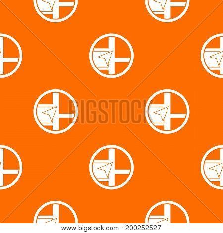 Map navigation pattern repeat seamless in orange color for any design. Vector geometric illustration
