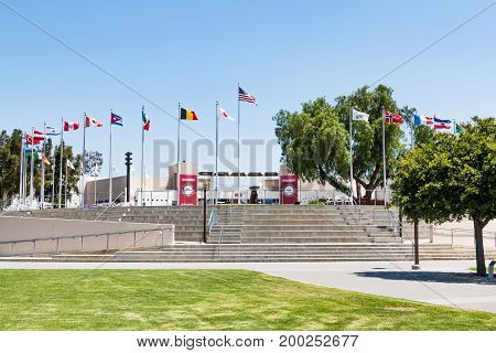 CHULA VISTA, CALIFORNIA - JUNE 30, 2017:  The courtyard and visitor center at the Chula Vista Elite Athlete Training Center, built on 155 acres in 1995 as an Olympic and paralympic training facility