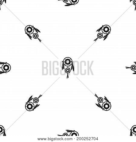 Native american dreamcatcher pattern repeat seamless in black color for any design. Vector geometric illustration