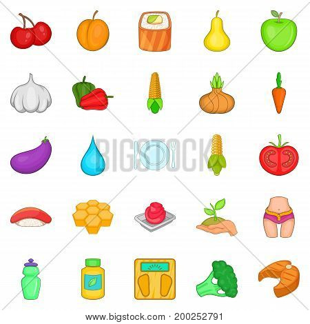 Dietary products icons set. Cartoon set of 25 dietary products vector icons for web isolated on white background